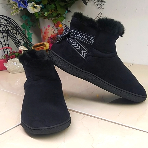 Isotoner Black Velvety Ankle Slipper Booties